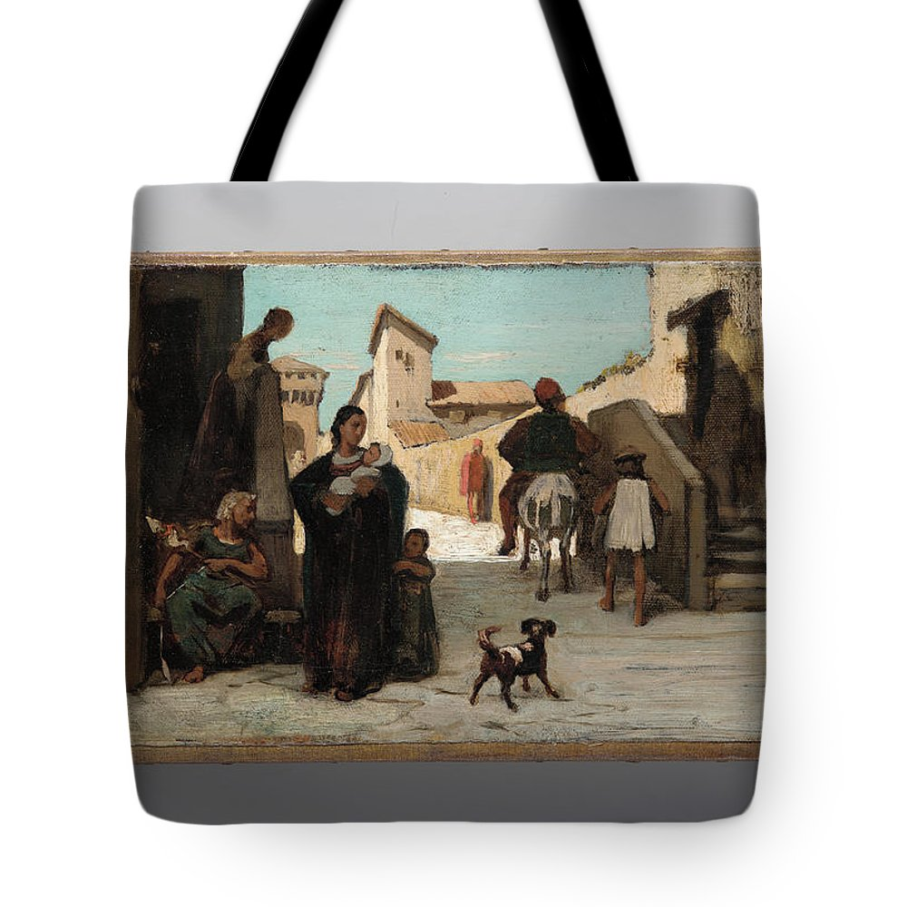 Elihu Vedder Tote Bag featuring the painting The Fable Of The Miller His Son And The Donkey by Elihu Vedder