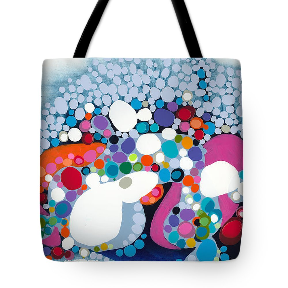 Abstract Tote Bag featuring the painting The Fantasy Of Reality by Claire Desjardins