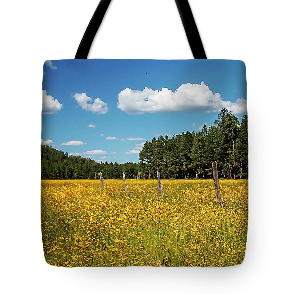 Yellow Tote Bag featuring the photograph The Field by Joseph Noonan