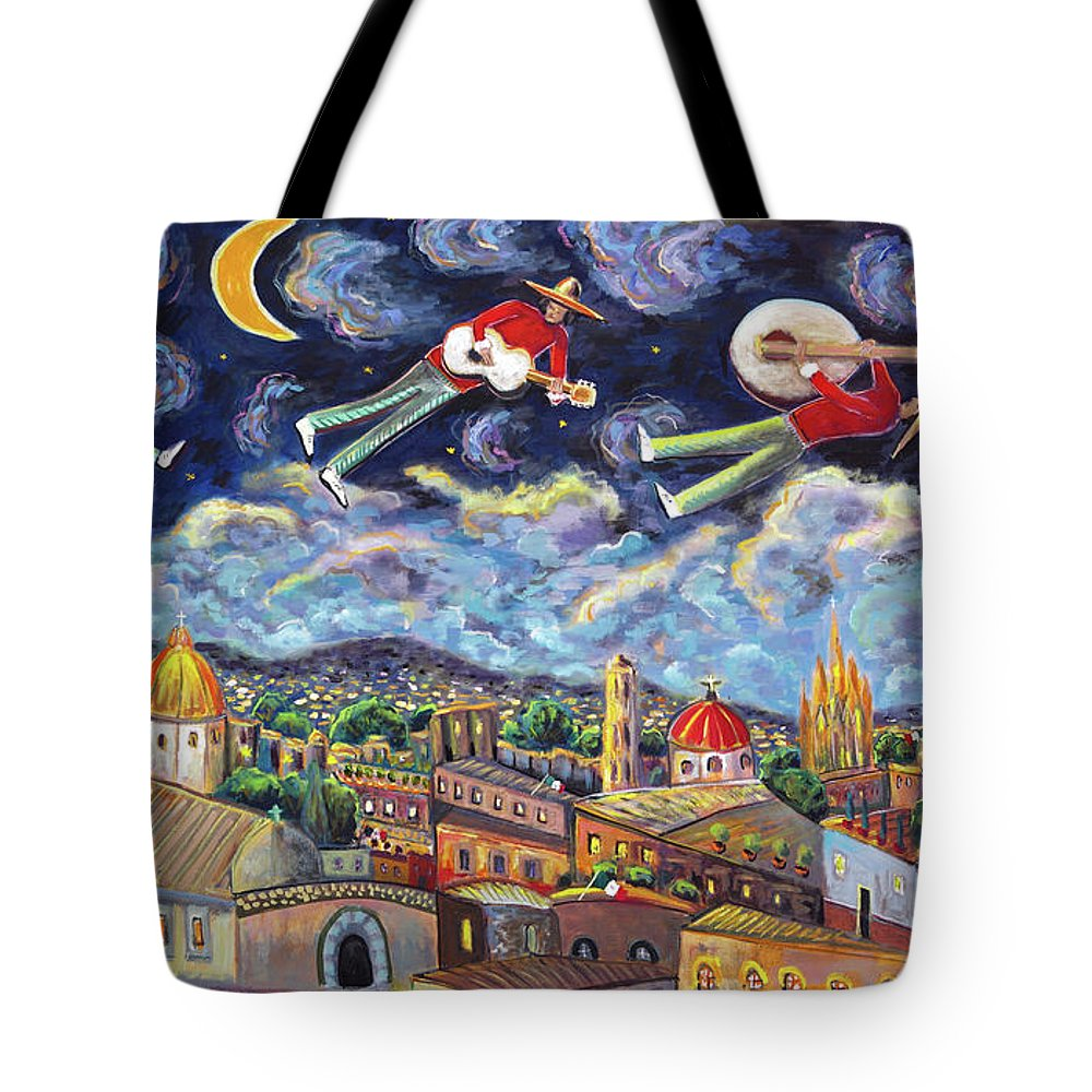 Music Tote Bag featuring the painting The Flying Mariachis by Andrew Osta