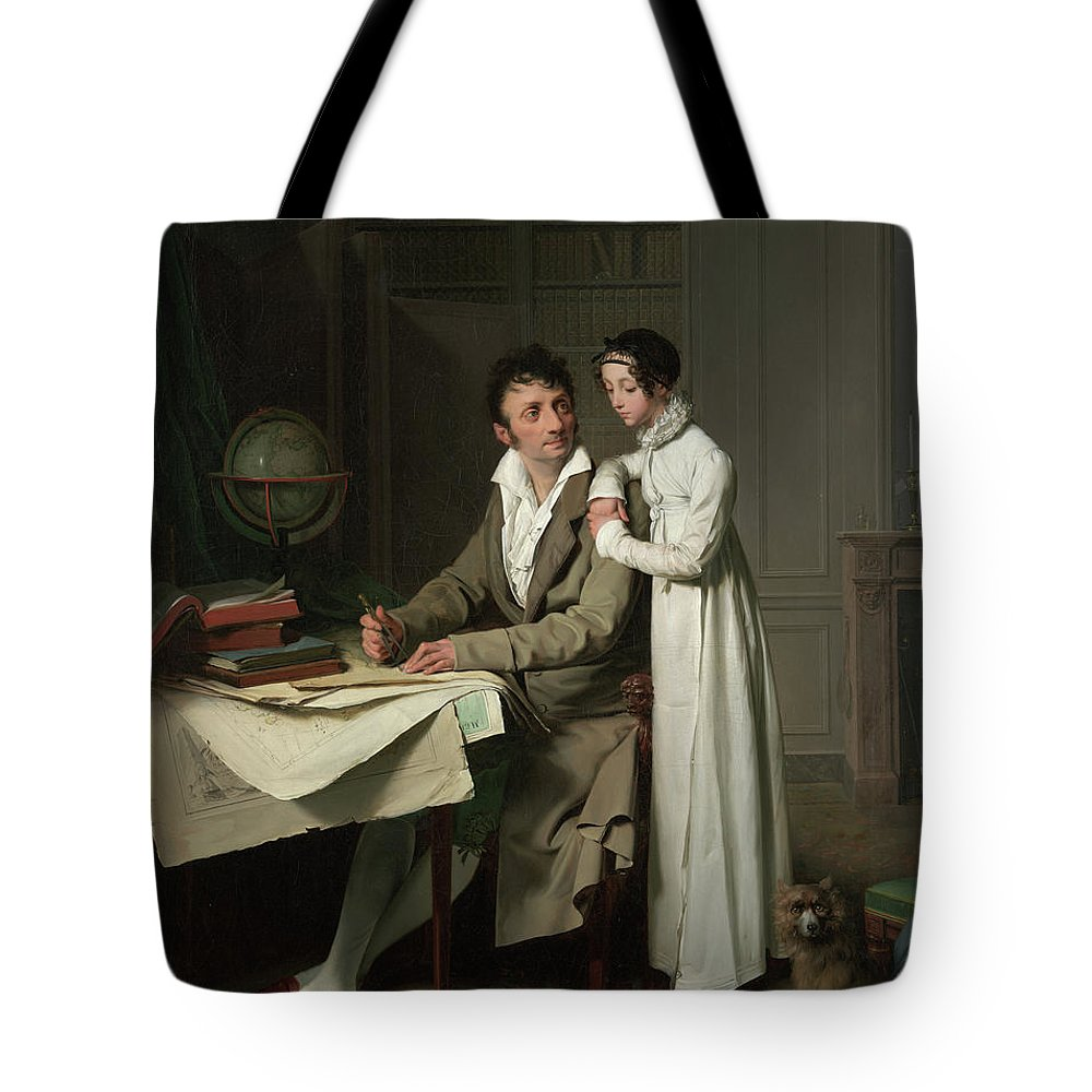 Louis-leopold Boilly Tote Bag featuring the painting The Geography Lesson, Portrait Of Monsieur Gaudry And His Daughter, 1812 by Louis-Leopold Boilly