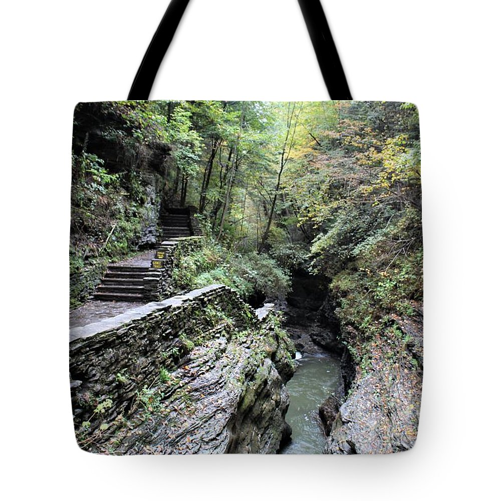 Stairway Tote Bag featuring the photograph The Gorge Trail by Carol McGrath