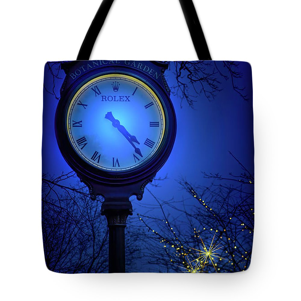 New York Botanical Gardens Tote Bag featuring the photograph The Great Garden Clock by Mark Andrew Thomas