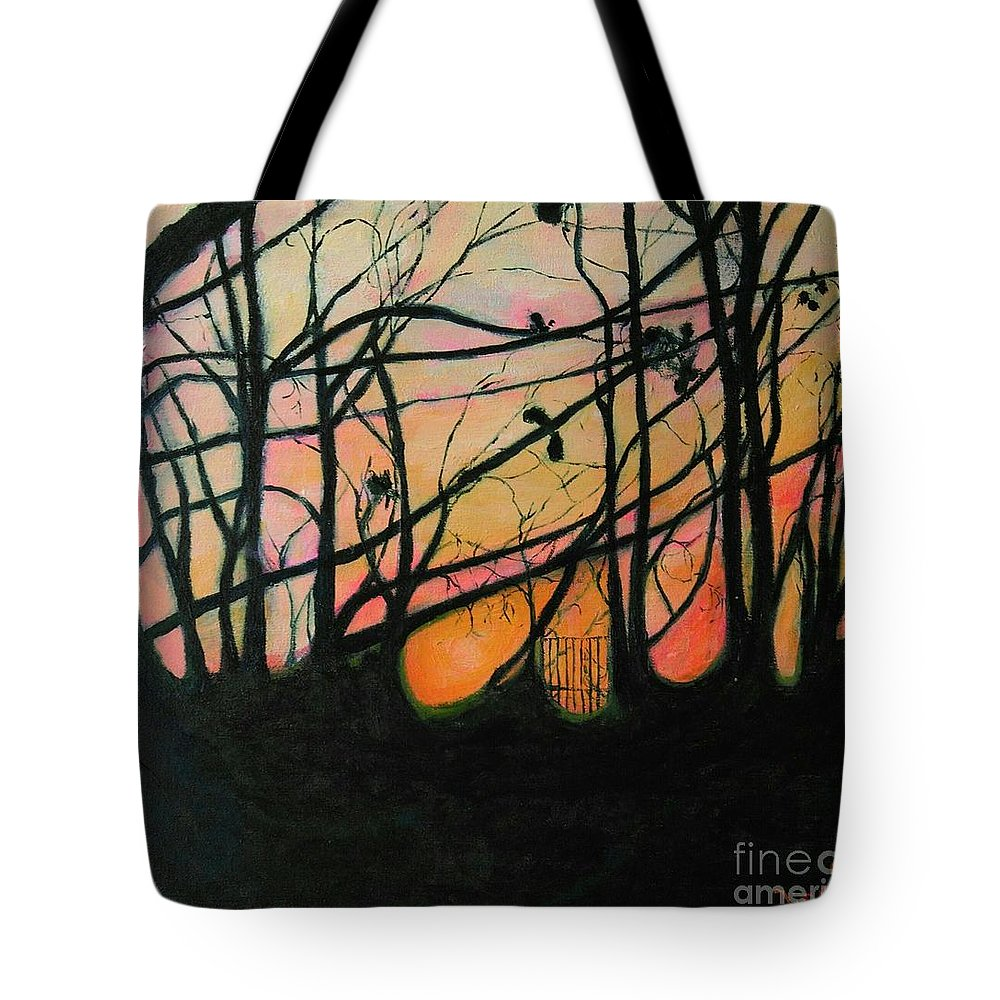 Trees Tote Bag featuring the painting The In Between by Caroline Cunningham
