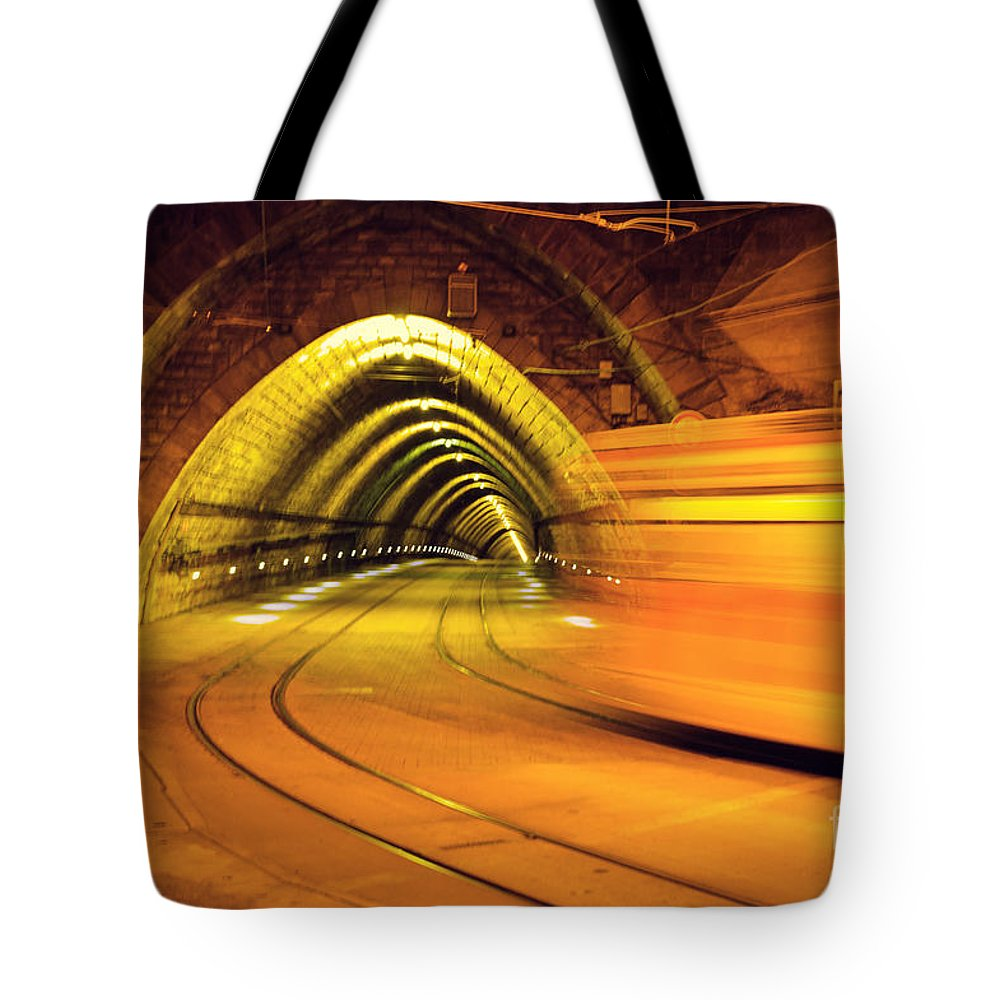 Tunnel Tote Bag featuring the photograph The Light At The End Of The Tunnel by Yavor Mihaylov