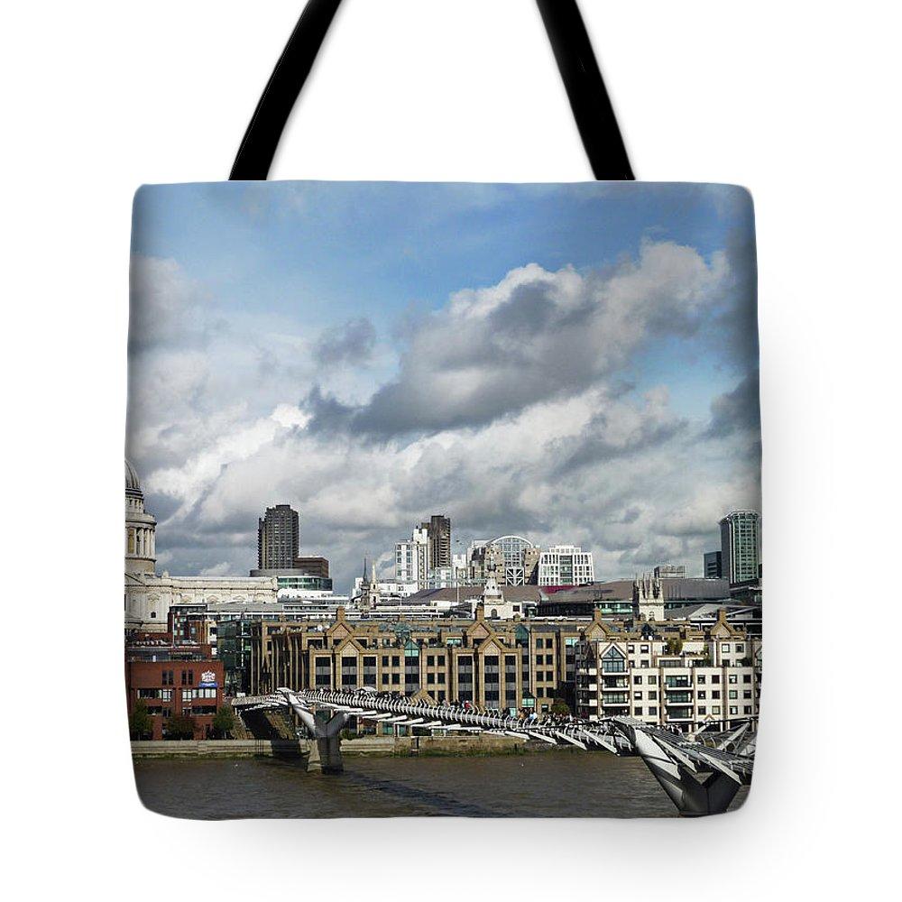 London Millennium Footbridge Tote Bag featuring the photograph The London Skyline Towards St Pauls by Eyespy