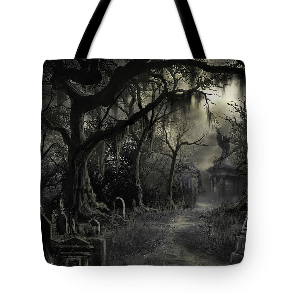 Cemetery Tote Bag featuring the painting The Lost Cemetery by James Christopher Hill