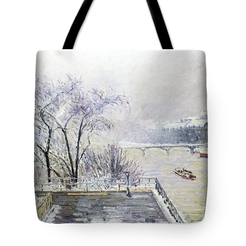 The Louvre Under Snow Tote Bag featuring the painting The Louvre Under Snow - Digital Remastered Edition by Camille Pissarro