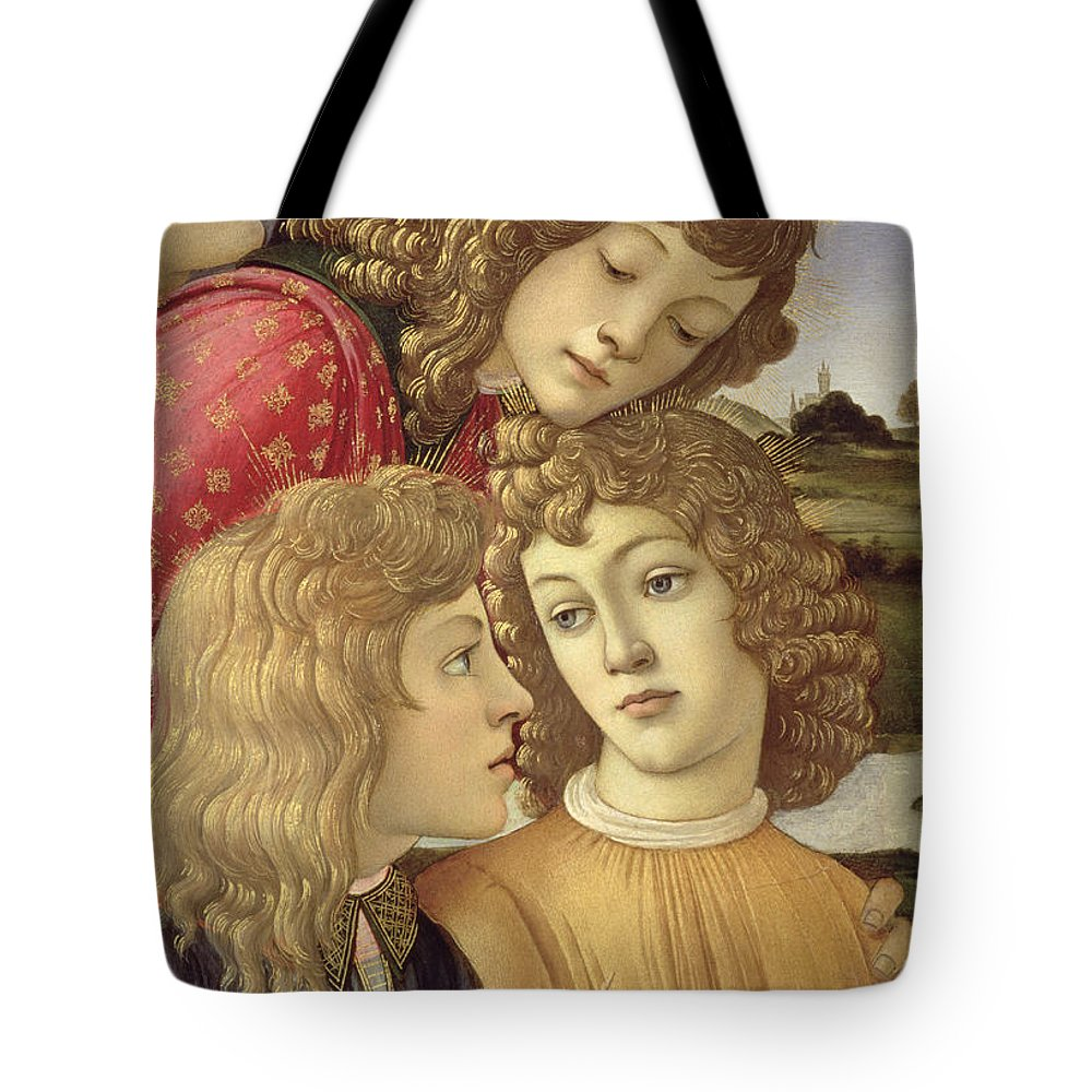 Sandro Botticelli Tote Bag featuring the painting The Madonna Of The Magnificat, Detail Of Three Boys, 1482 by Sandro Botticelli