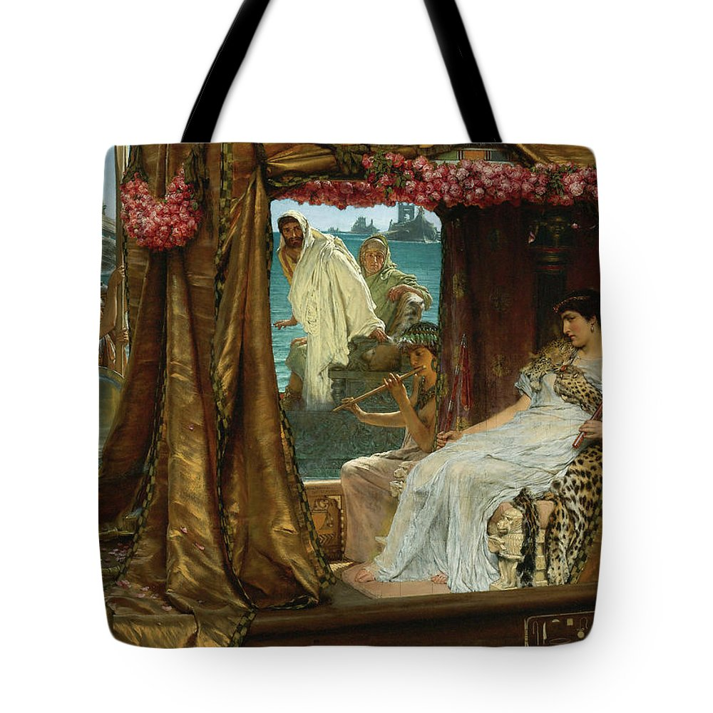 Sir Lawrence Alma-tadema Tote Bag featuring the painting The Meeting Of Antony And Cleopatra, 1885 by Lawrence Alma-Tadema