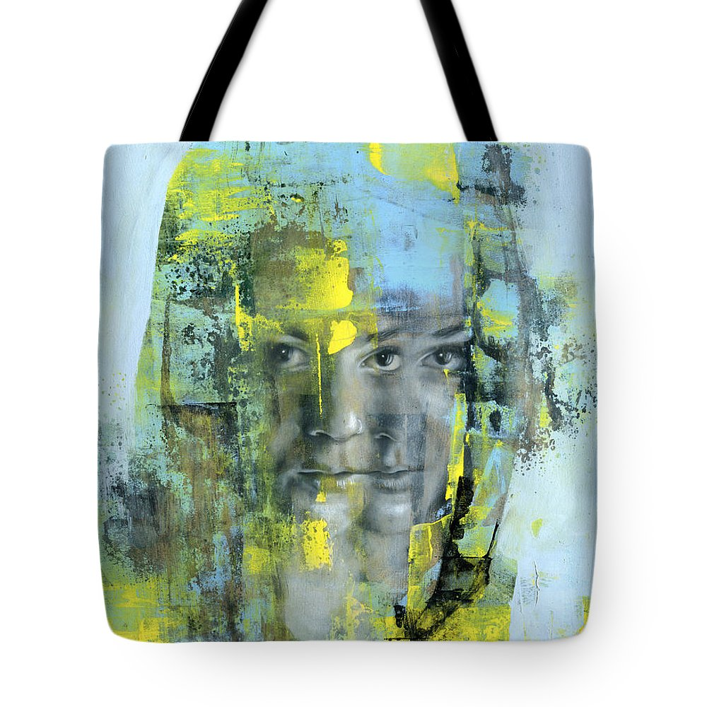 Portrait Tote Bag featuring the painting The Naked Word by Patricia Ariel