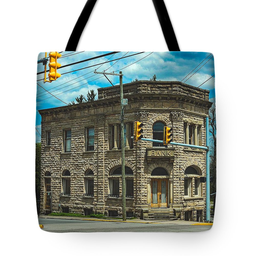 Old Banks Tote Bag featuring the photograph The Old Stone Bank by Mountain Dreams
