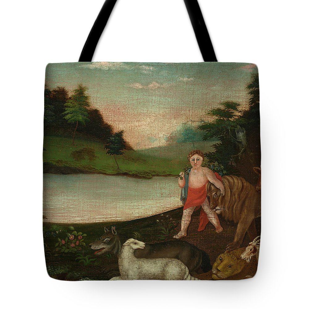 Edward Hicks Tote Bag featuring the painting The Peaceable Kingdom, 1818 by Edward Hicks