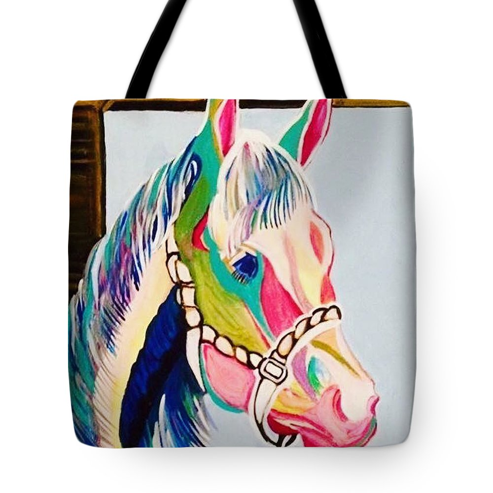 Horse Tote Bag featuring the painting The Pink Horse by Essam Iskander