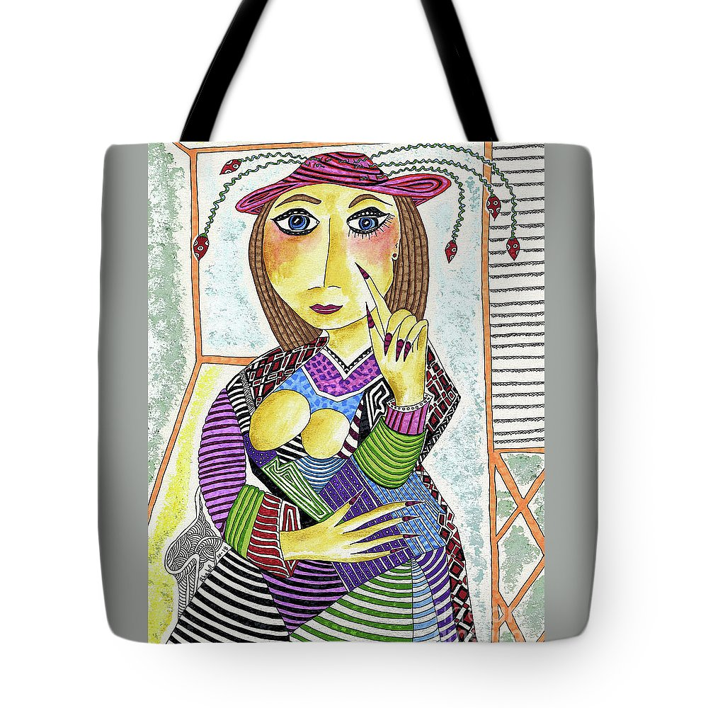Finger Nails Tote Bag featuring the painting The Pointer by Rheba McMichael