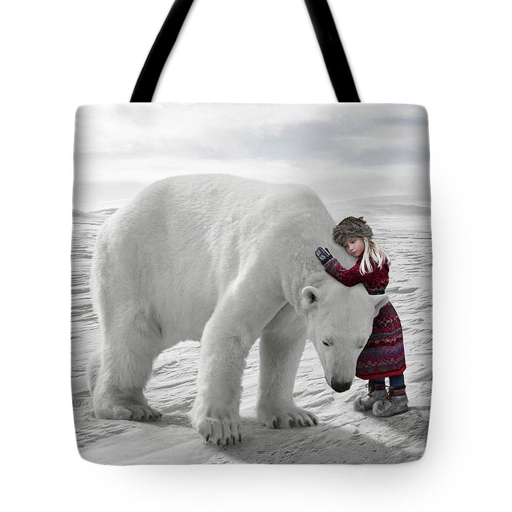 Child Tote Bag featuring the photograph The Polar Bear Hug by Per Breiehagen