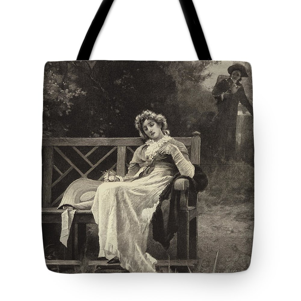 Tote Bag featuring the drawing The Return by Marcus Stone