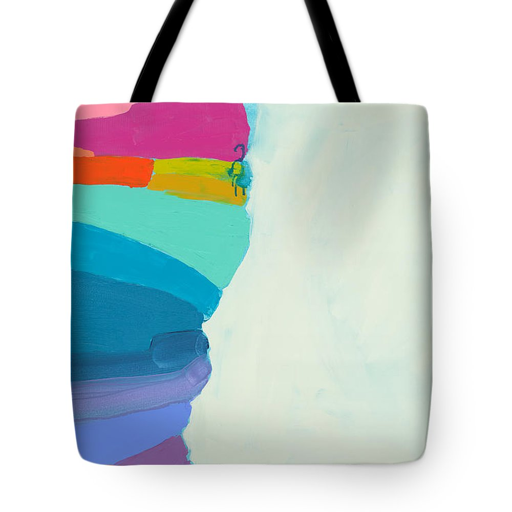 Abstract Tote Bag featuring the painting The Right Timing by Claire Desjardins