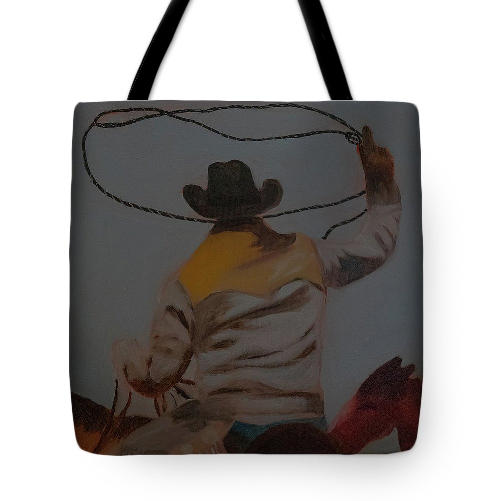 Horse Tote Bag featuring the painting The Roper by Fine Art Western Paintings