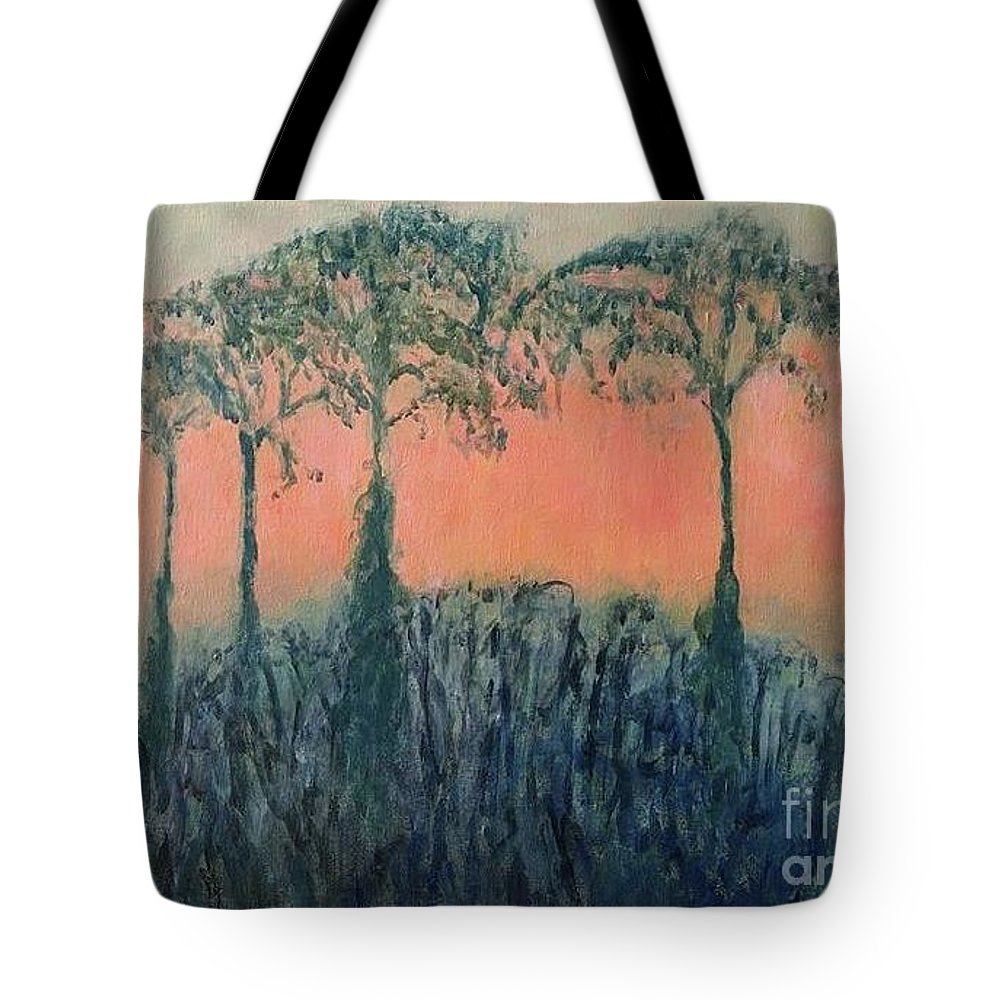 Sacred Tote Bag featuring the painting The Sacred Tree by Caroline Cunningham