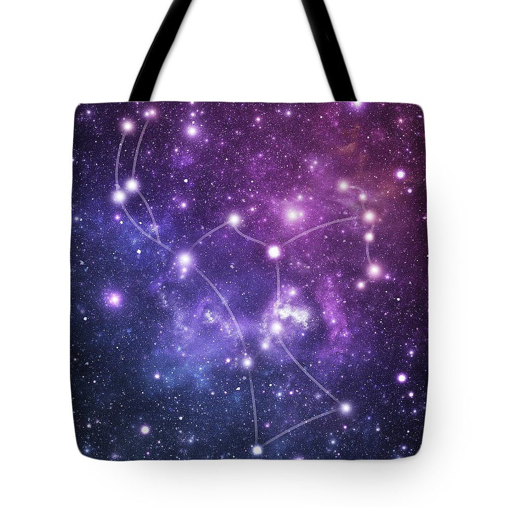 Black Color Tote Bag featuring the photograph The Stars Constellation Of Orion by Sololos