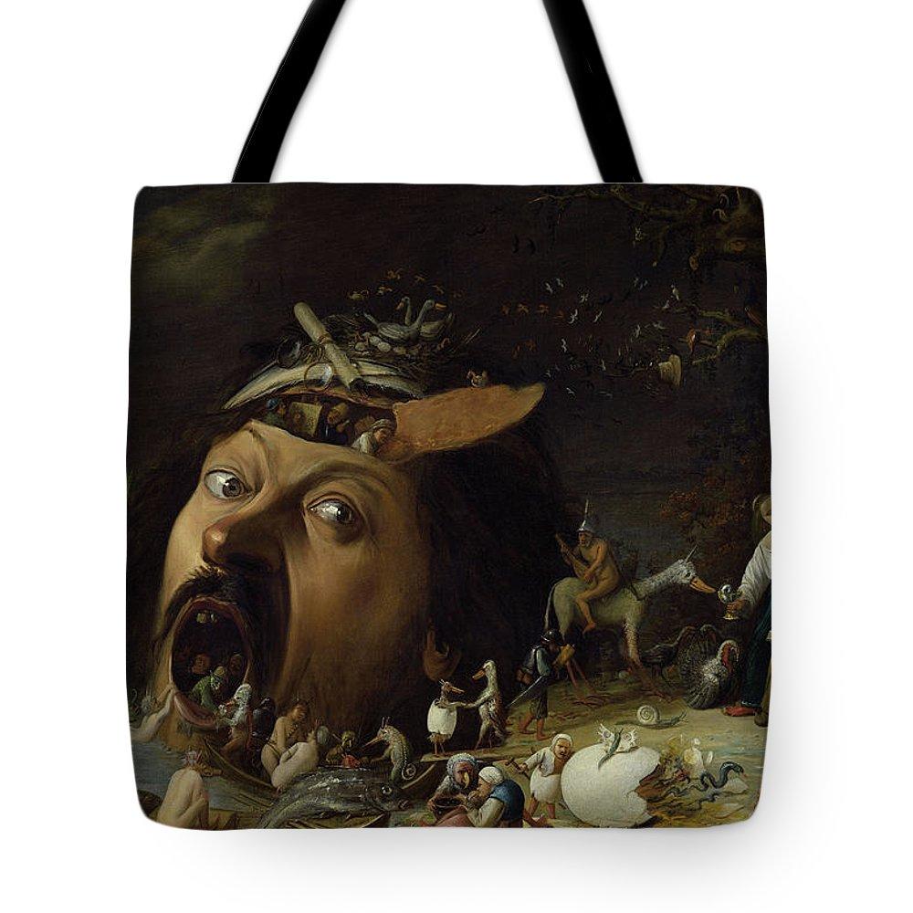 The Temptation Of Saint Anthony Tote Bag featuring the painting The Temptation Of Saint Anthony by Joos van Craesbeeck