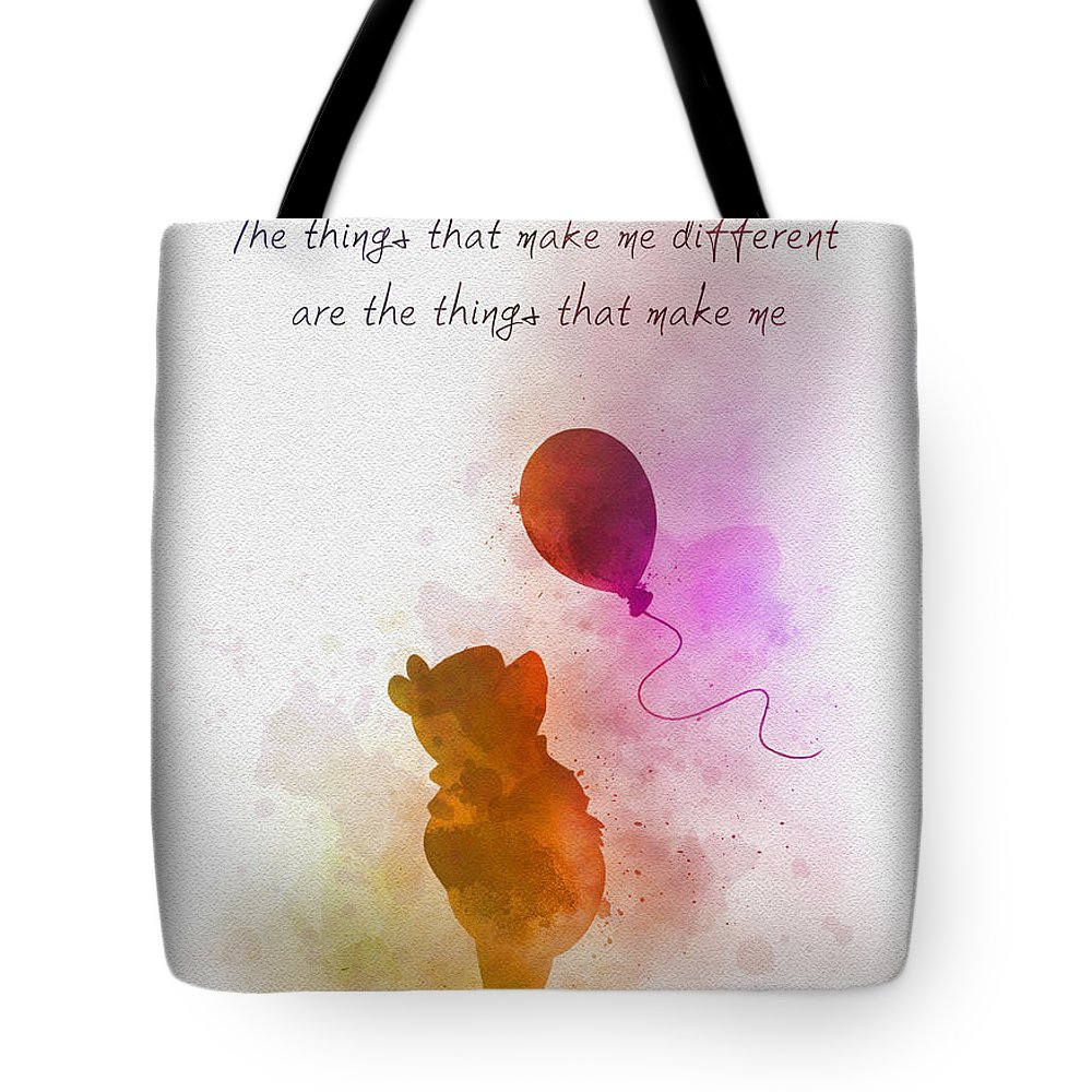 Winnie The Pooh Tote Bag featuring the mixed media The things that make me different by My Inspiration