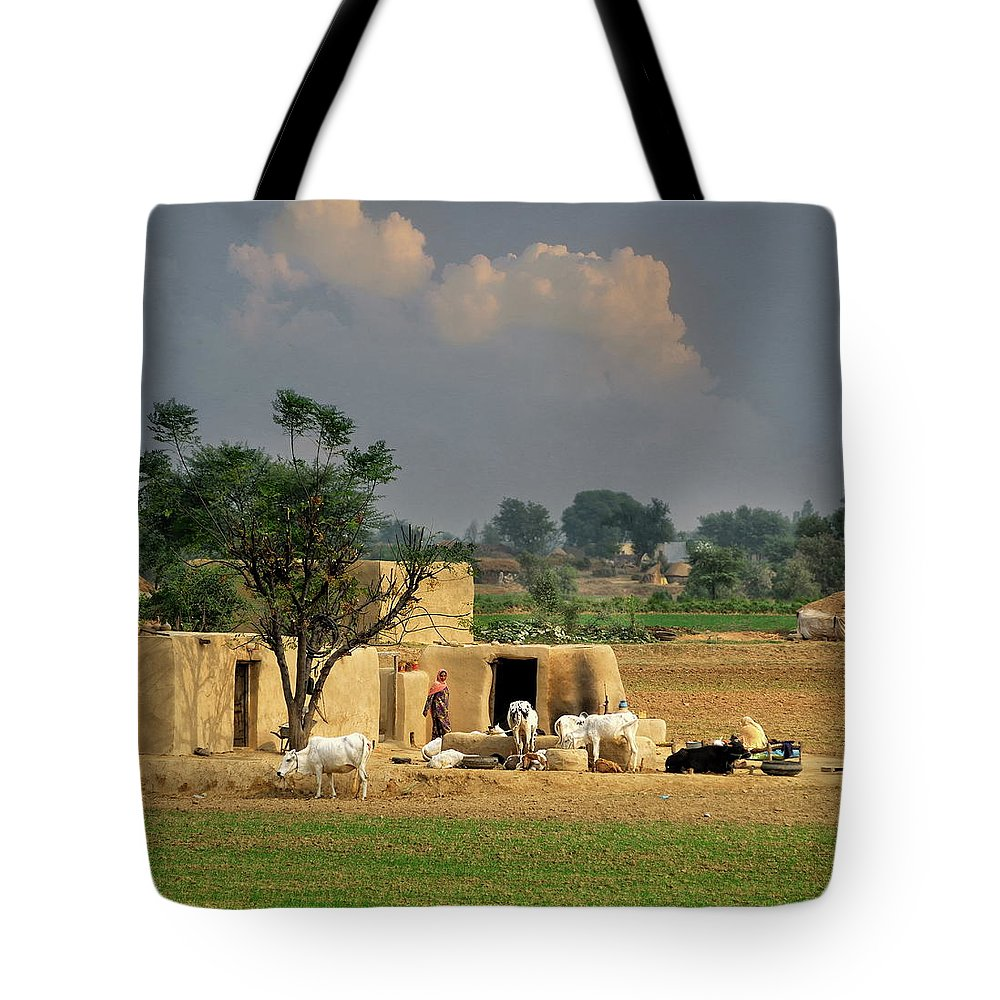 Grass Tote Bag featuring the photograph The Village Of Punjab by Nadeem Khawar