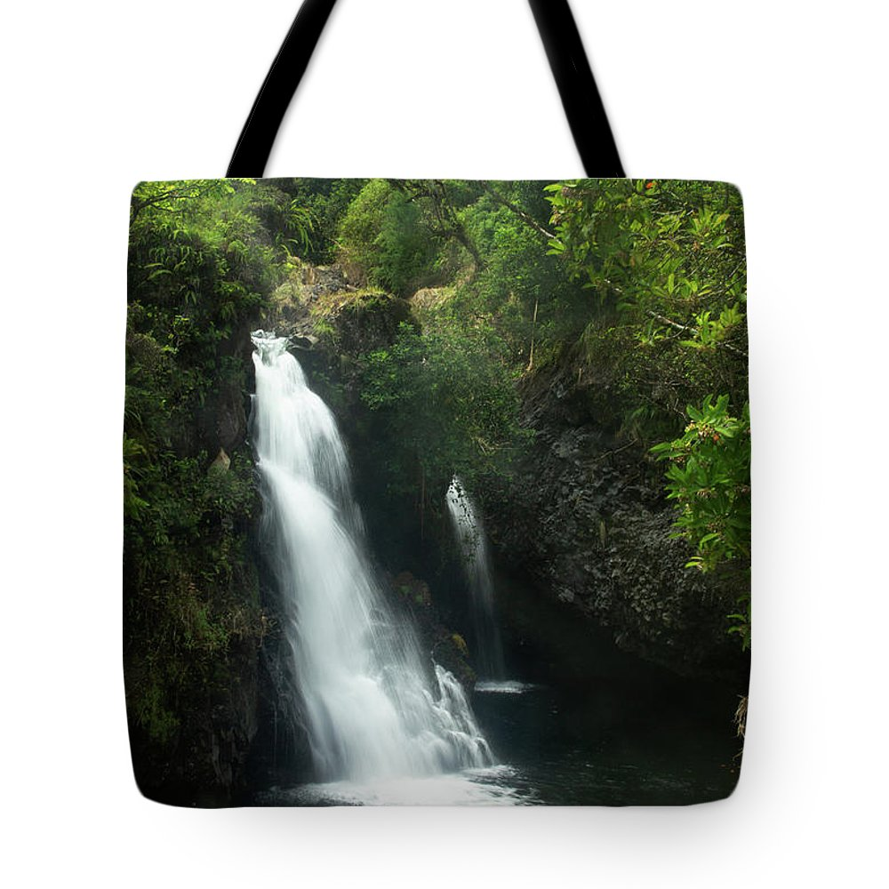 Hawaii Tote Bag featuring the photograph The Waterfall At Kaumahina Wayside by Marie Leslie