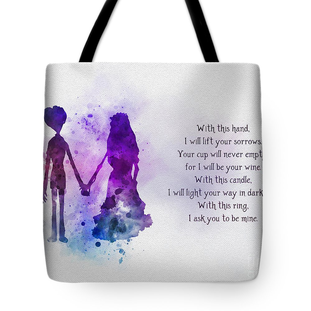 Victor Tote Bag featuring the mixed media The Wedding Vows by Rebecca Jenkins