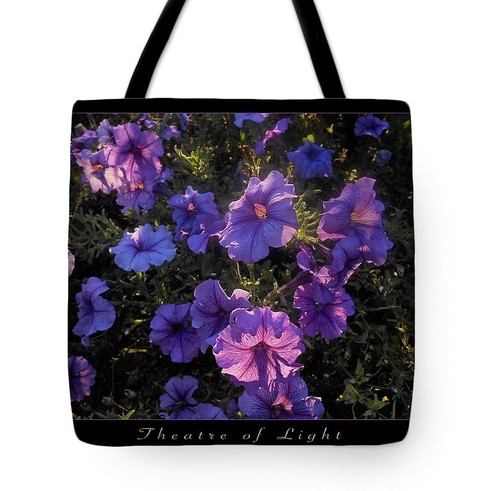 Purple Flowers Tote Bag featuring the photograph Theatre of Light Horizontal Poster by Felipe Adan Lerma