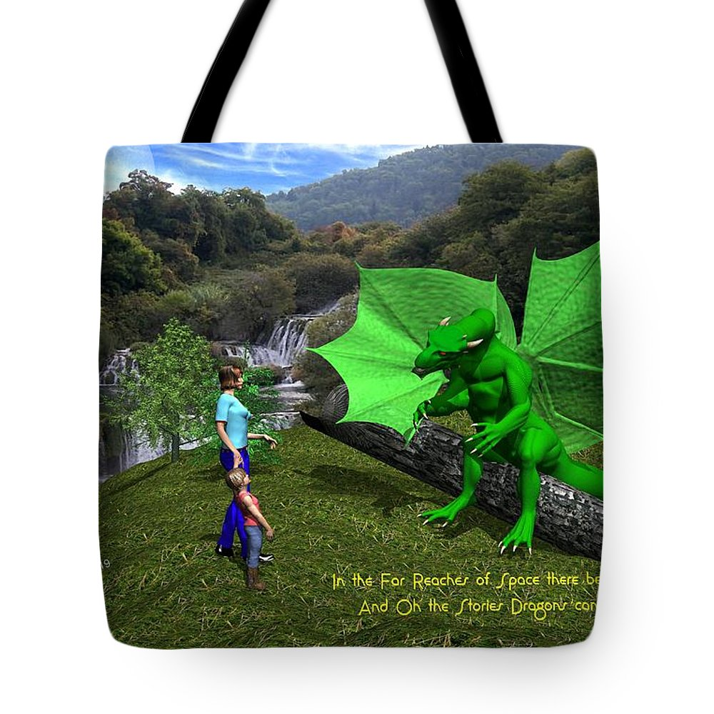 Tote Bag featuring the digital art There Be Dragons by Bob Shimer