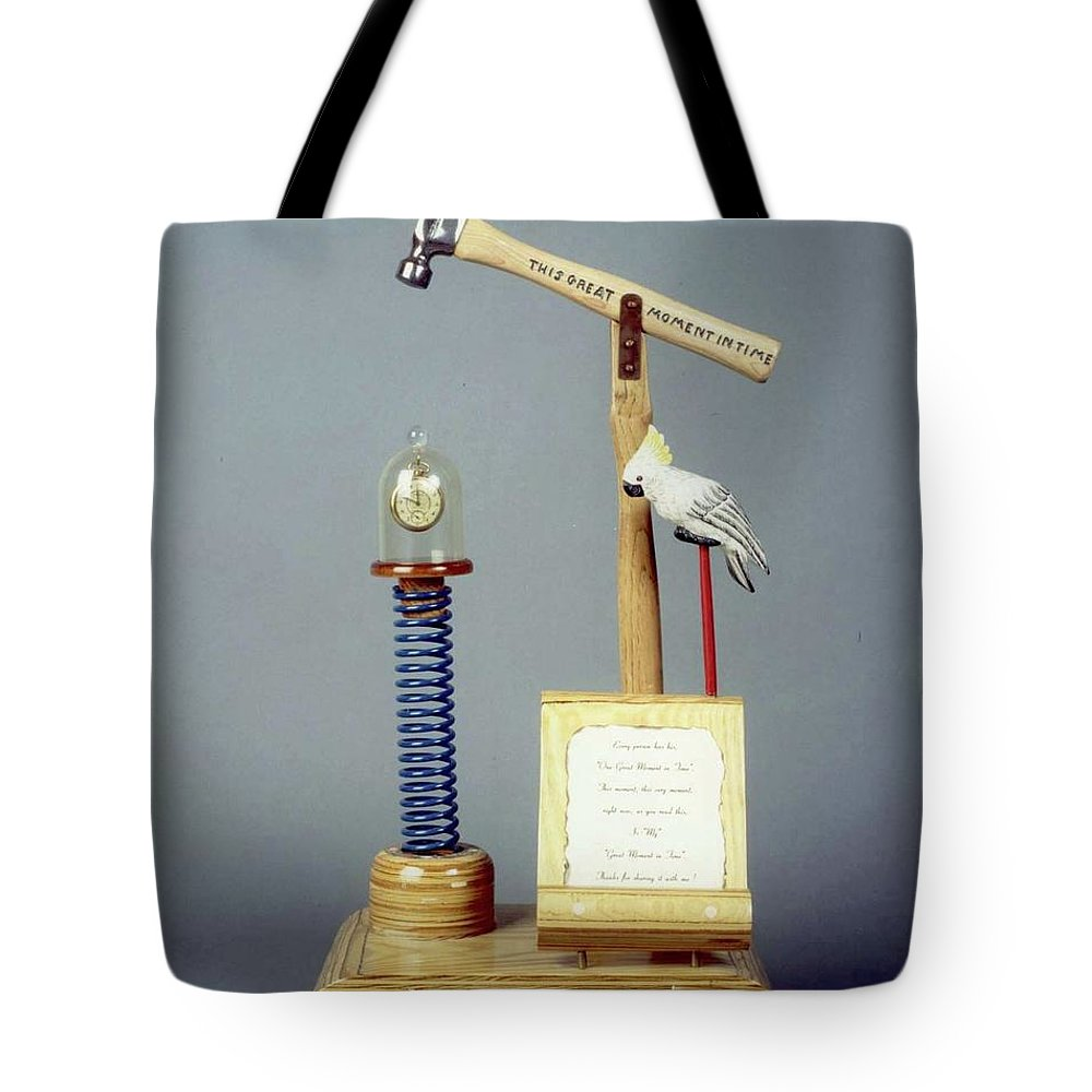 Czappa Tote Bag featuring the sculpture This Great Moment In Time by Bill Czappa
