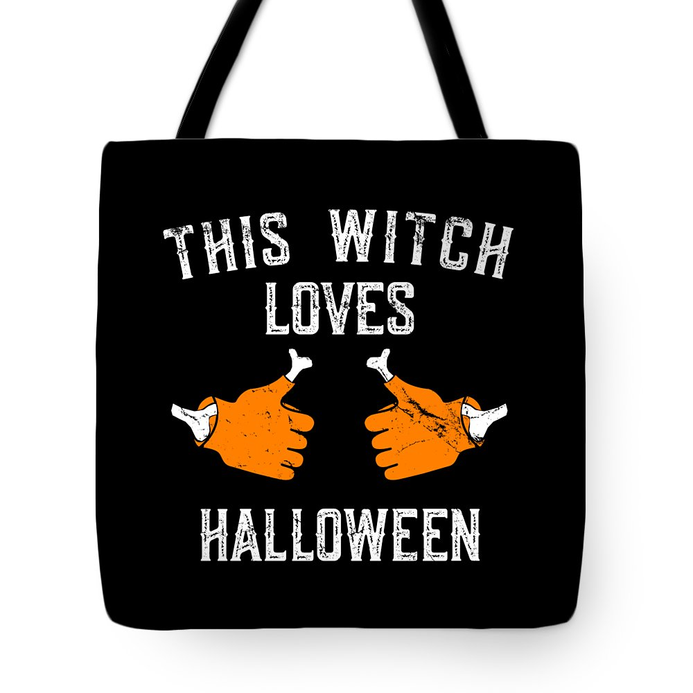 Halloween Party Tote Bag featuring the digital art This Witch Loves Halloween by Flippin Sweet Gear