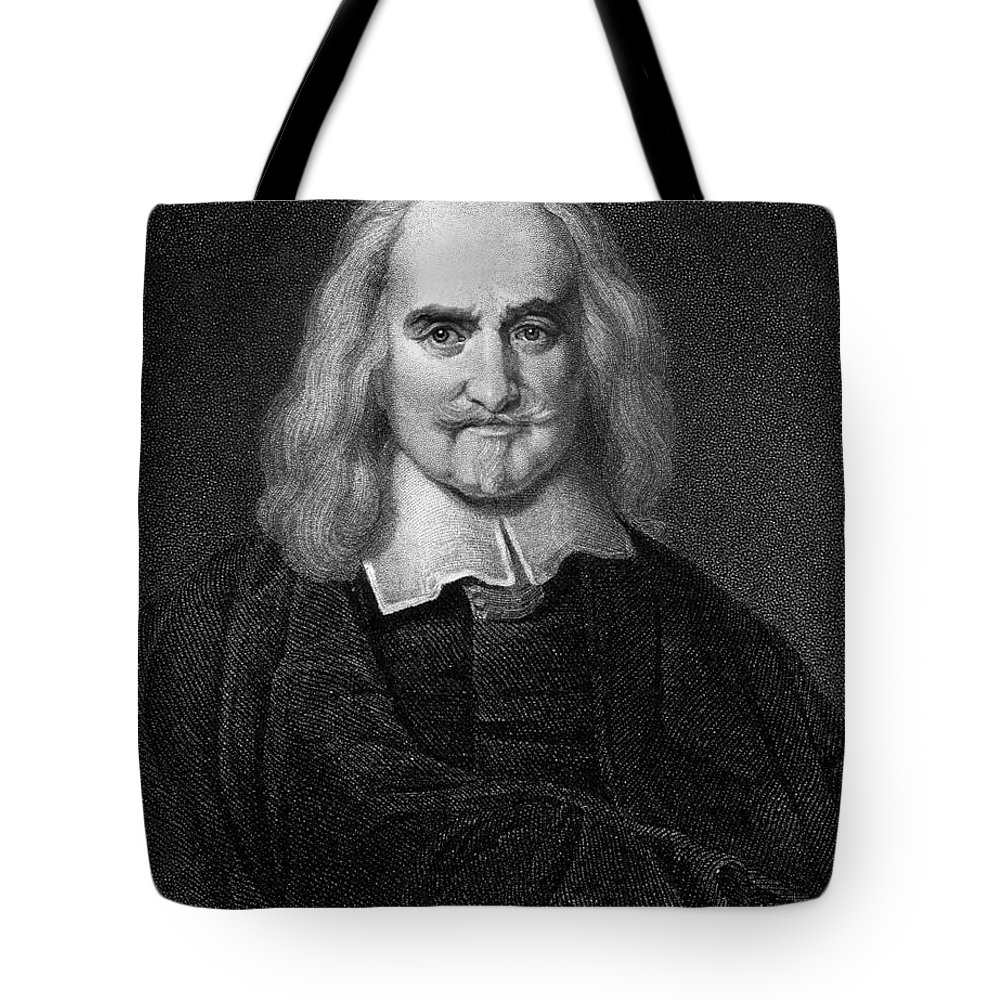 Historical Tote Bag featuring the drawing Thomas Hobbes English Philosopher, Engraving by European School