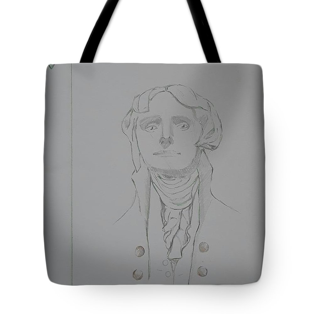 Tote Bag featuring the drawing Thomas Jefferson by Sterlyn Claire