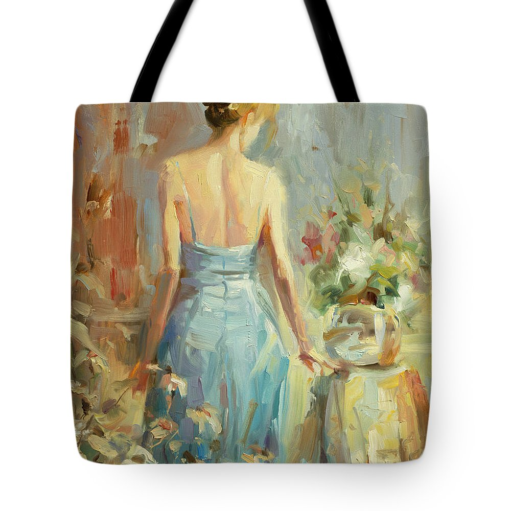 Woman Tote Bag featuring the painting Thoughtful by Steve Henderson