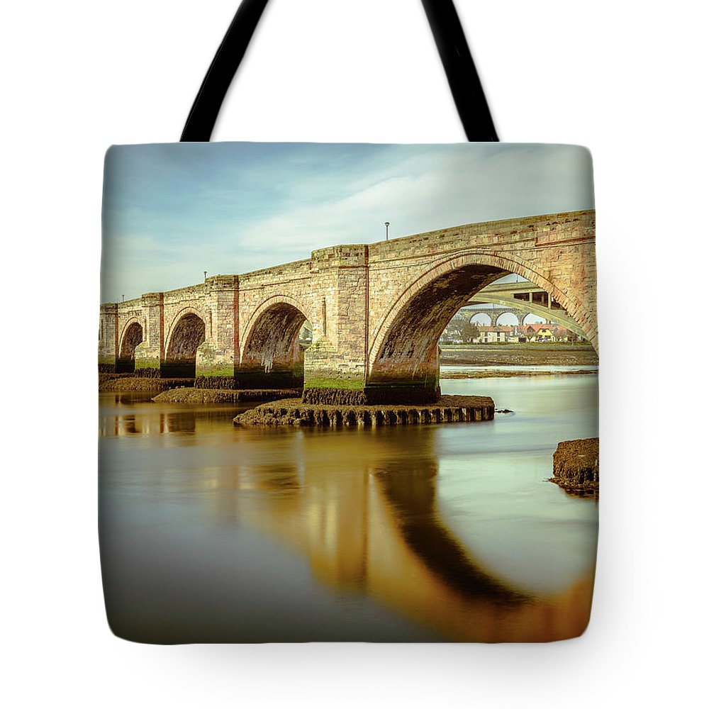 Bridge Tote Bag featuring the digital art Three Bridges. by Dariusz Stec