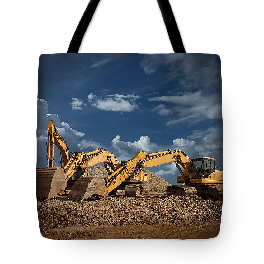 Working Tote Bag featuring the photograph Three Excavators At Construction Site by Narvikk