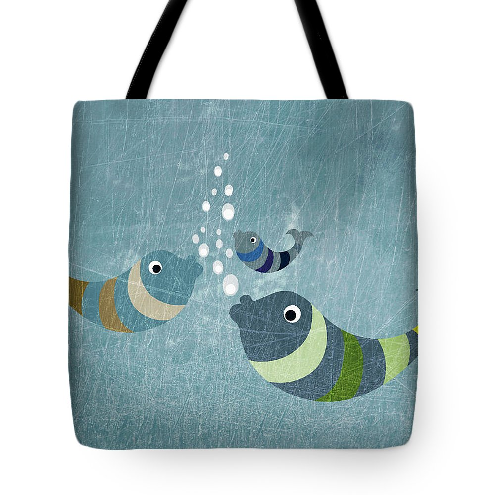 Underwater Tote Bag featuring the digital art Three Fish In Water by Fstop Images - Jutta Kuss