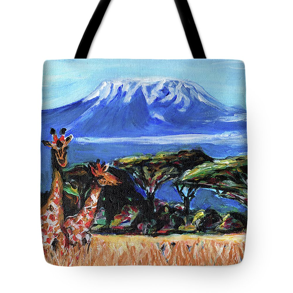 Everett Spruill Tote Bag featuring the painting Three Giraffes by Everett Spruill