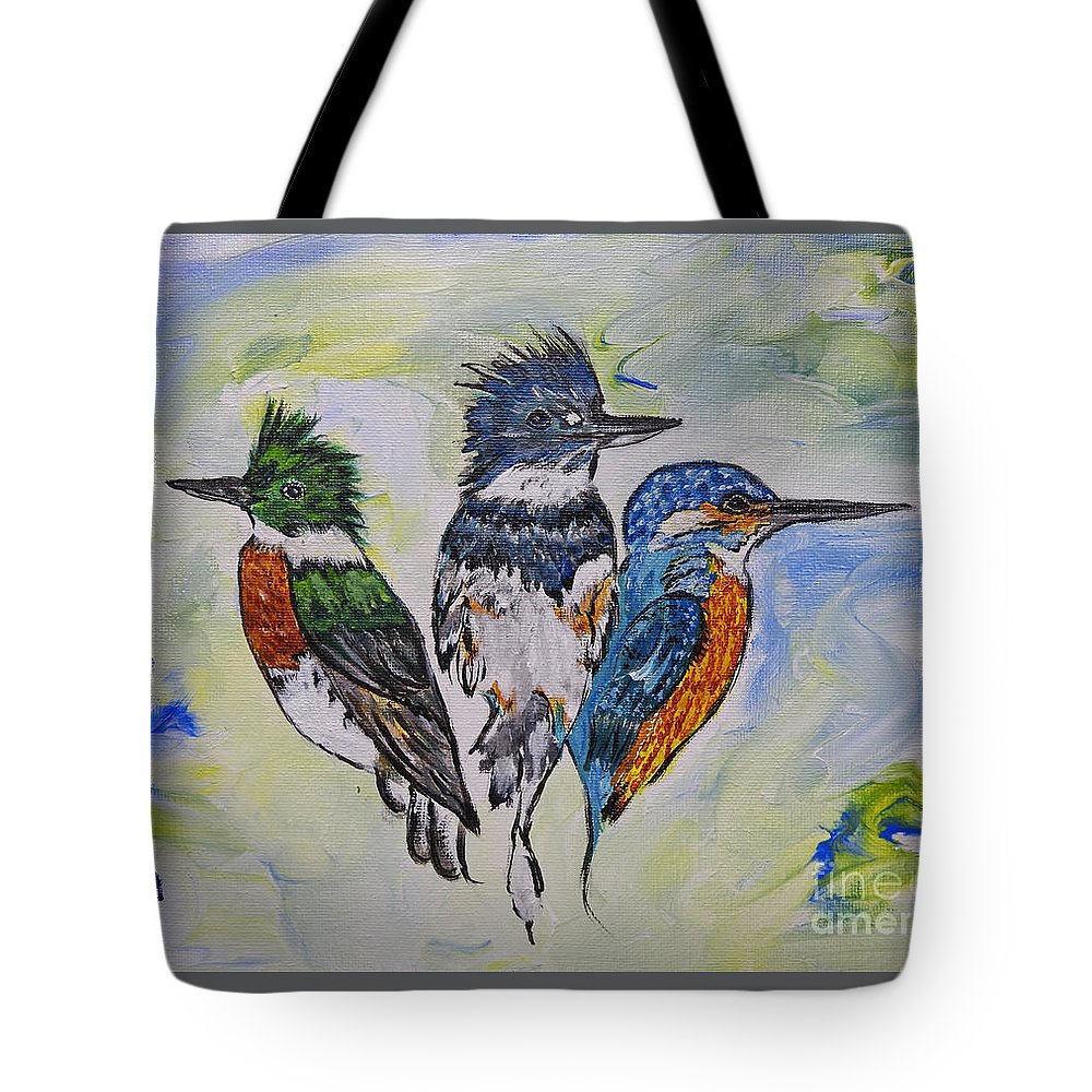 Kingfisher Tote Bag featuring the painting Three Kingfisher Birds - Painting By Ella by Ella Kaye Dickey