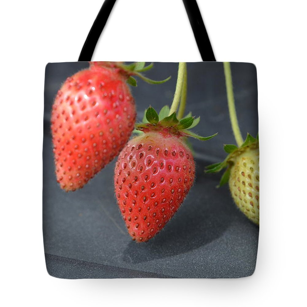 Strawberries Tote Bag featuring the photograph Three Strawberries by Norman Burnham