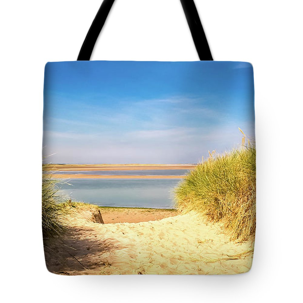 Budle Bay Tote Bag featuring the photograph Through The Dunes Over To Budle Bay by Naylors Photography