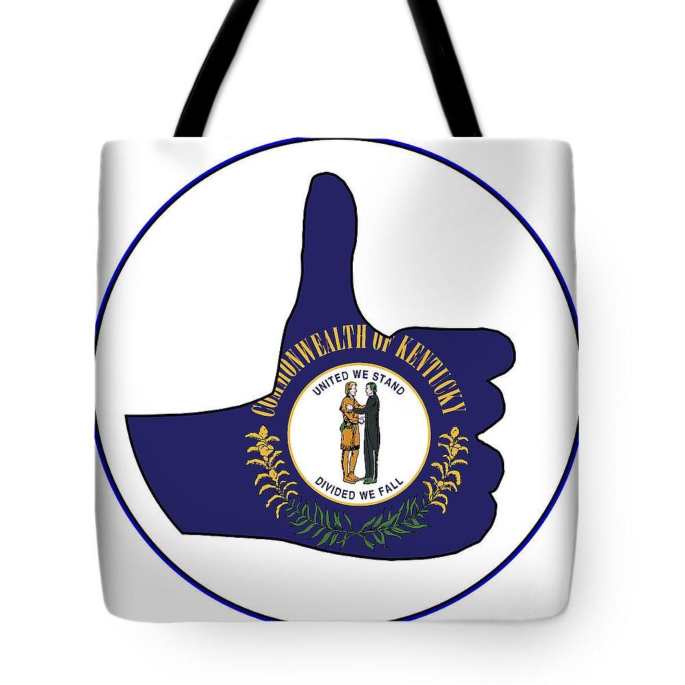 Kentucky Tote Bag featuring the digital art Thumbs Up Kentucky by Bigalbaloo Stock