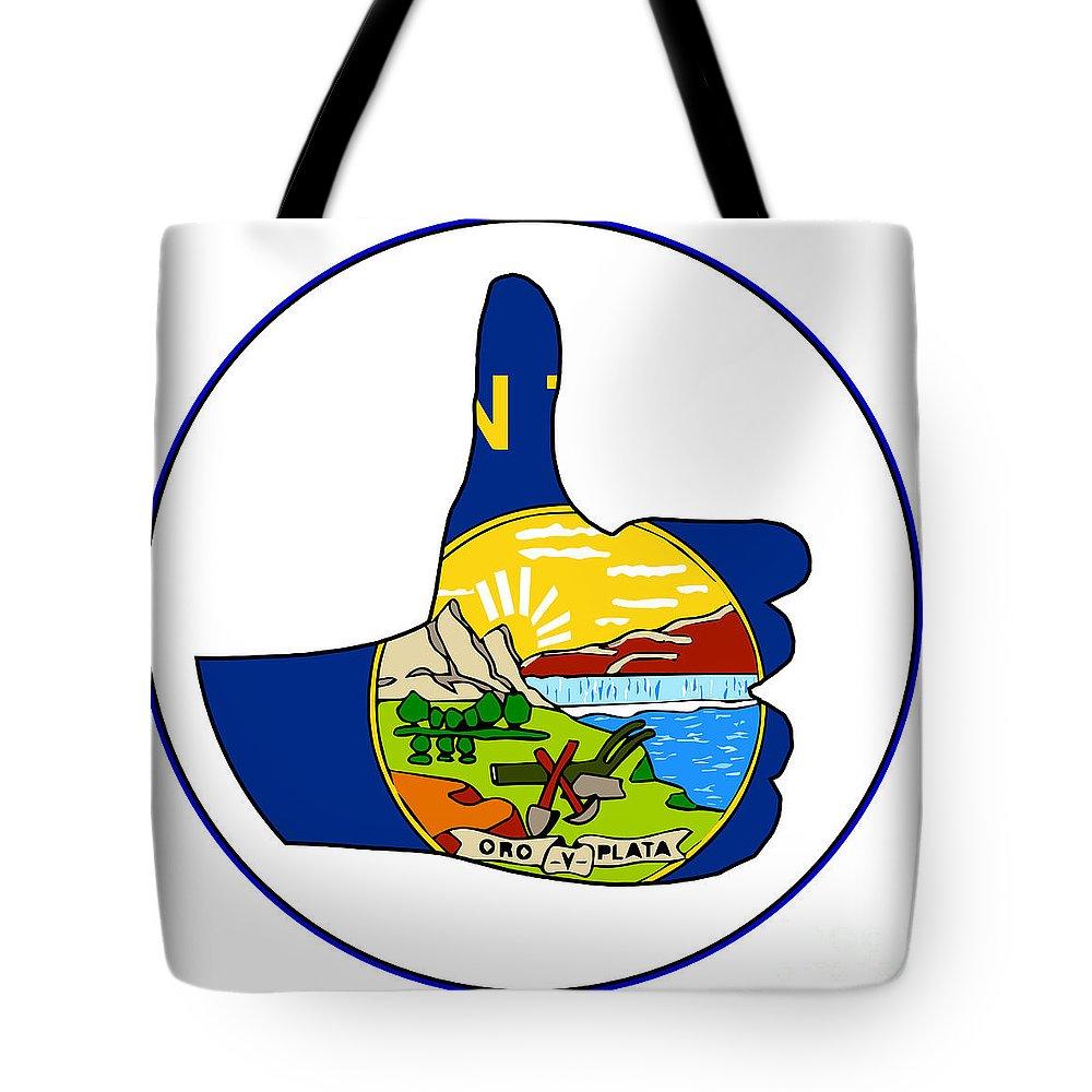 Montana Tote Bag featuring the digital art Thumbs Up Montana by Bigalbaloo Stock