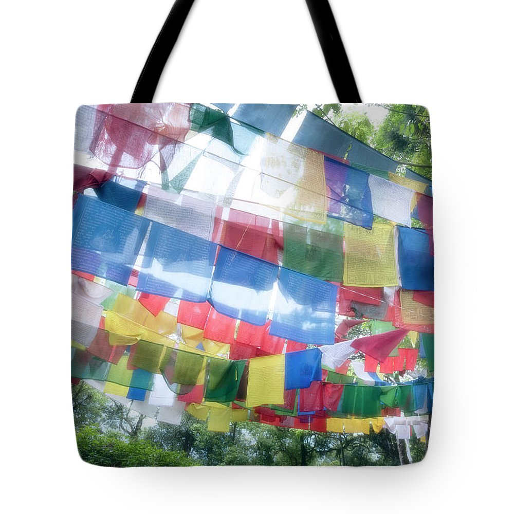 Hanging Tote Bag featuring the photograph Tibetan Buddhist Prayer Flags by Glen Allison