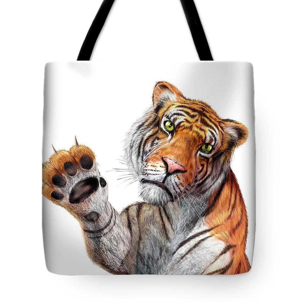 White Background Tote Bag featuring the digital art Tiger, Artwork by Leonello Calvetti