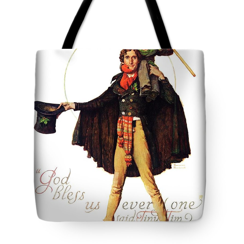 Christmas Carol Tote Bag featuring the drawing Tiny Tim by Norman Rockwell