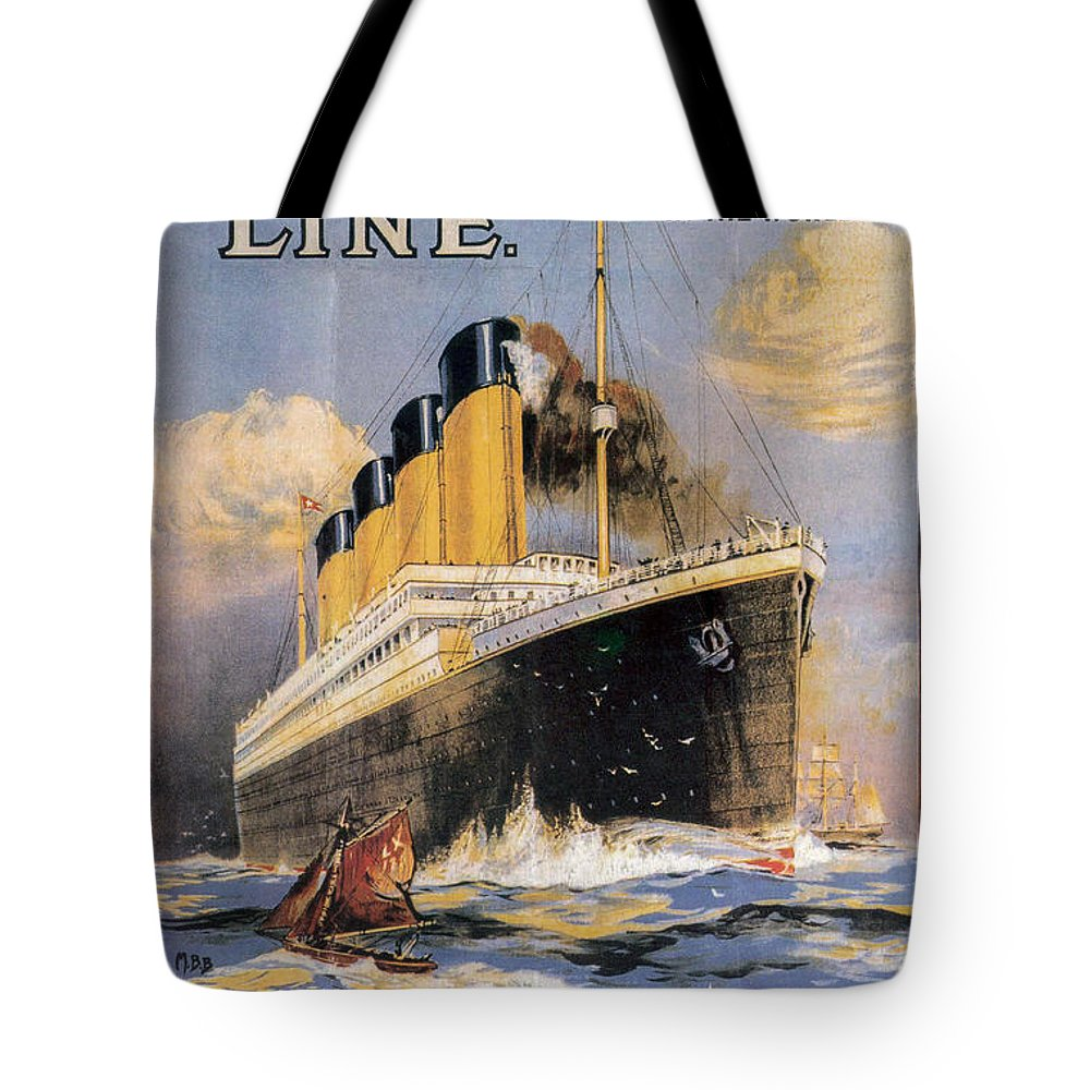 Titanic Advertising Poster Tote Bag featuring the photograph Titanic Advertising Poster by Jon Neidert